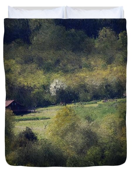 View From The Pond At The Hacienda Duvet Cover by David Lane