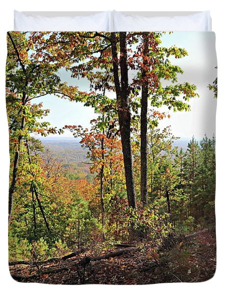 View From The Top Of Brown's Mountain Trail, Kings Mountain Stat Duvet Cover