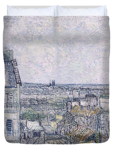 View From Vincent's Room In The Rue Lepic Duvet Cover by Vincent van Gogh