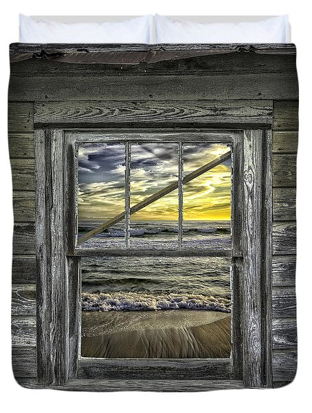 View From Weathered Beach Cottage Duvet Cover