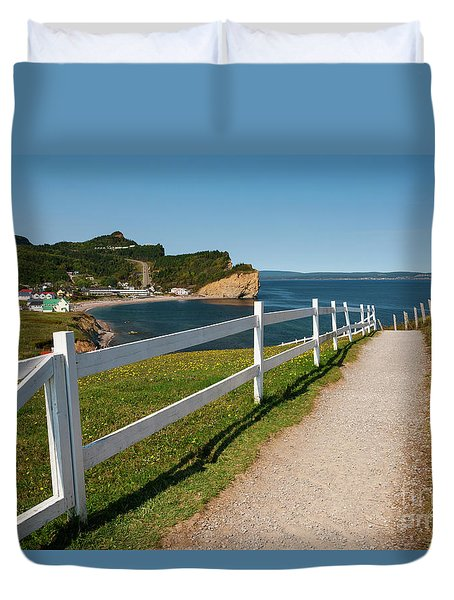 Duvet Cover featuring the photograph View In Perce Quebec by Elena Elisseeva