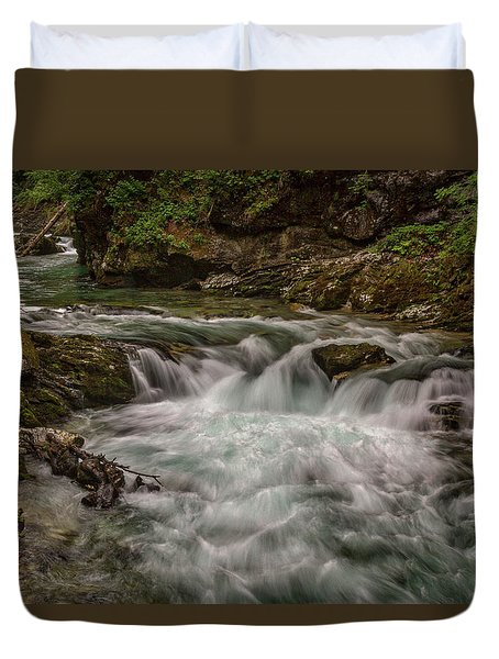 Duvet Cover featuring the photograph View In Vintgar Gorge #2 - Slovenia by Stuart Litoff