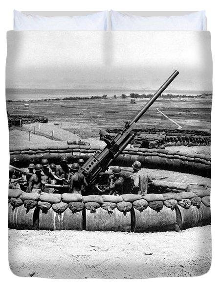 View Of A 90mm Aaa Gun Emplacement Duvet Cover by Stocktrek Images
