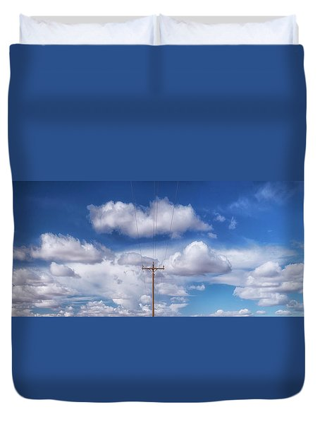 View Of A Phone Pole Duvet Cover by Gary Warnimont
