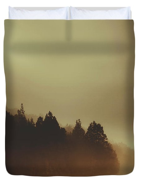 View Of Abandoned Country Road In Foggy Forest Duvet Cover
