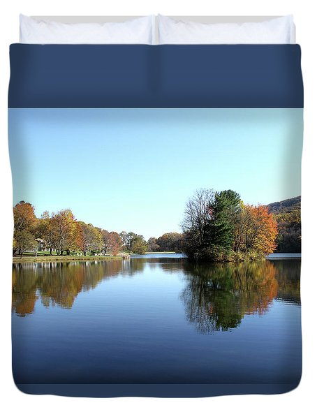 View Of Abbott Lake With Trees On Island, In Autumn Duvet Cover