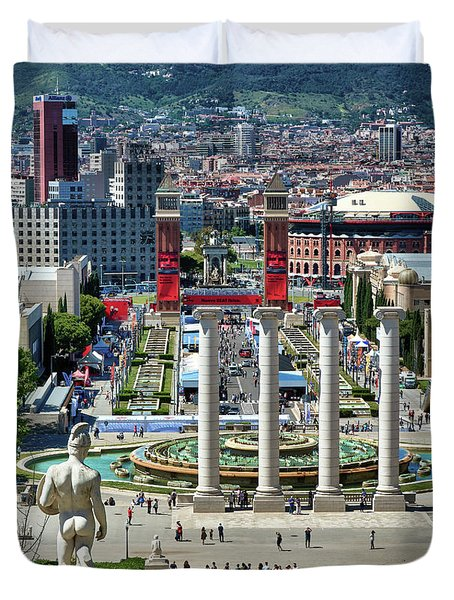 Duvet Cover featuring the photograph View Of Barcelona From Montjuic by Eduardo Jose Accorinti