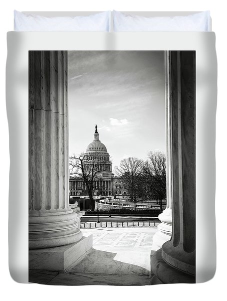View Of Capitol Hill Through The Supreme Court Duvet Cover
