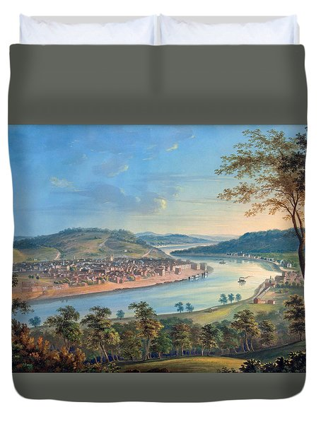 Duvet Cover featuring the painting View Of Cincinnati From Covington by John Caspar Wild