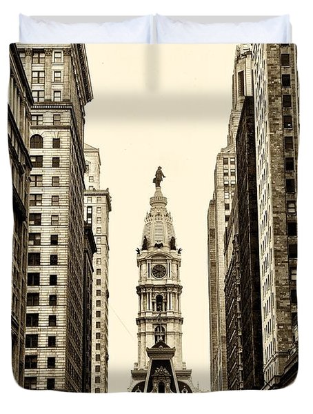View Of Cityhall From Broad Street In Philadelphia Duvet Cover by Bill Cannon