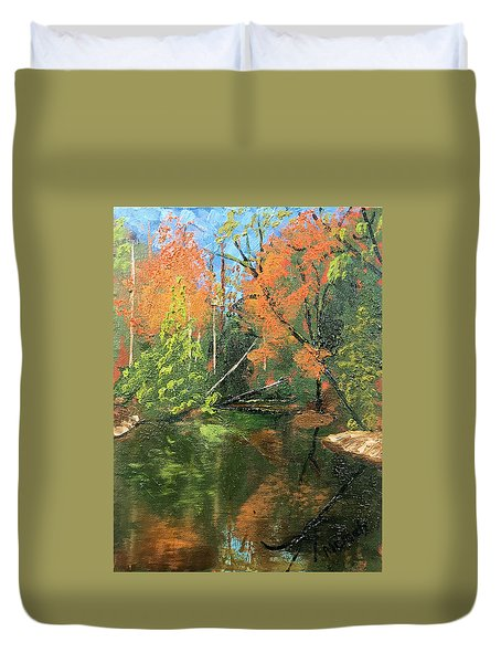 View Of Creek From Lake Huron Duvet Cover