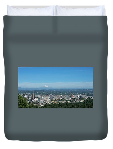 View Of Downtown Portland Oregon From Pittock Mansion Duvet Cover