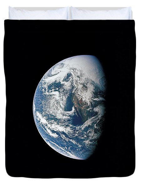 View Of Earth Taken From The Apollo 13 Duvet Cover by Stocktrek Images