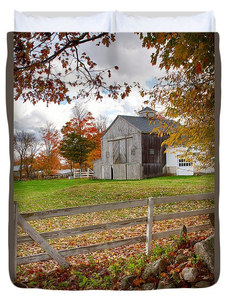 Duvet Cover featuring the photograph View Of Grey Barn Over The Rocks by Jeff Folger