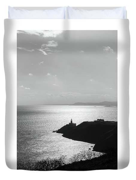 Duvet Cover featuring the photograph View Of Howth Head With The Baily Lighthouse In Black And White by Semmick Photo