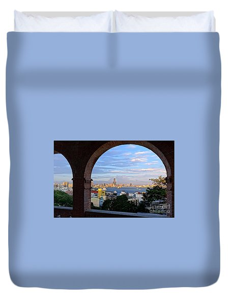 Duvet Cover featuring the photograph View Of Kaohsiung City At Sunset Time by Yali Shi