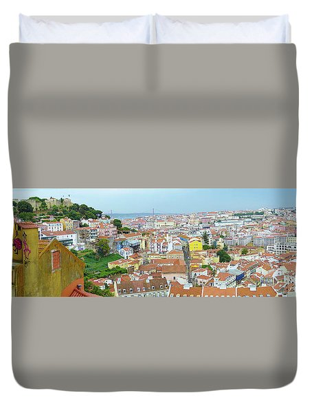 Duvet Cover featuring the photograph View Of Lisbon by Patricia Schaefer