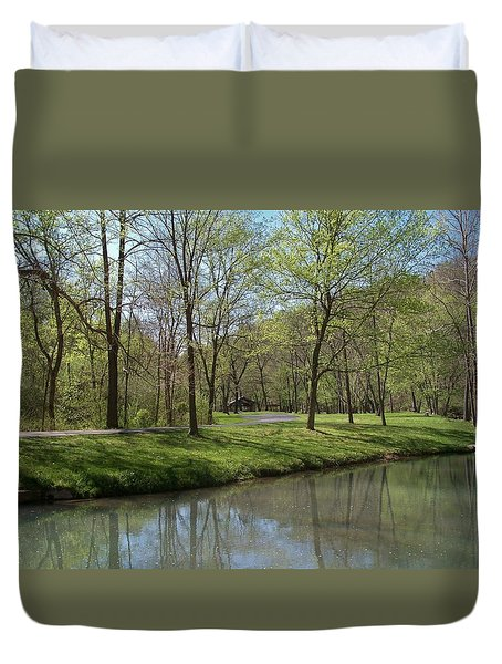 View Of Lone Pine Crossing Duvet Cover