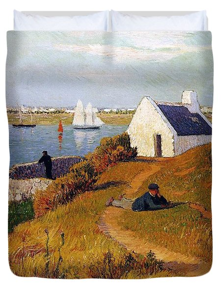 View Of Lorient In Brittany Duvet Cover by Henry Moret