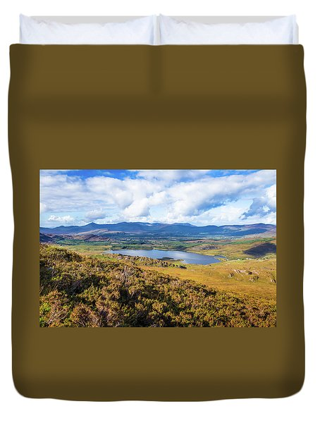 Duvet Cover featuring the photograph View Of Lough Acoose In Ballycullane From The Foothill Of Macgil by Semmick Photo