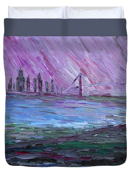 Duvet Cover featuring the painting View On Manhattan by Vadim Levin