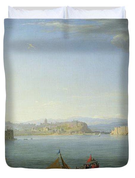 View Of Naples Duvet Cover by Adrien Manglard
