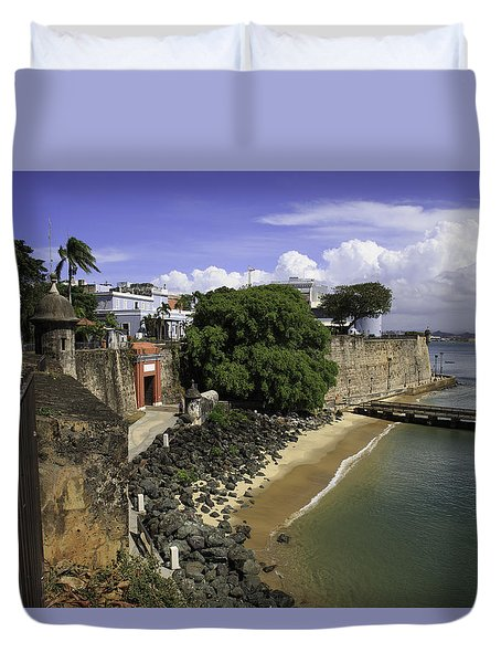 Duvet Cover featuring the photograph View Of Old San Juan by Jose Oquendo