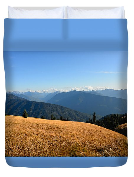 View Of Olympics From Hurricane Ridge Duvet Cover