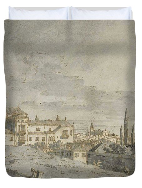 View Of Padua From Outside The City Walls With The Church Of San Francesco Duvet Cover