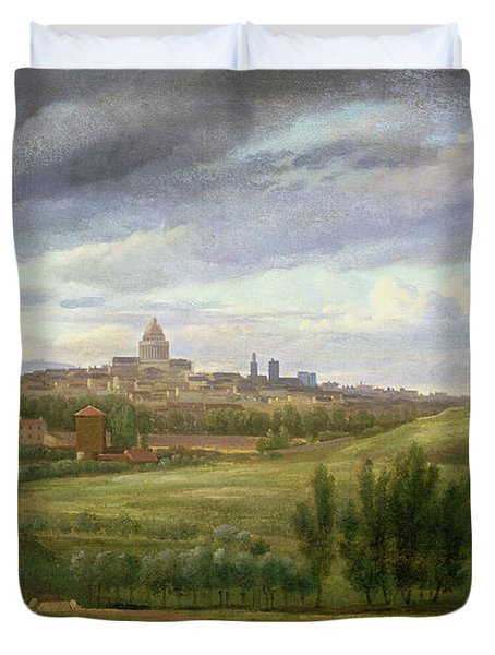 View Of Paris From Butte Aux Cailles Duvet Cover by Jean Baptiste Gabriel Langlace