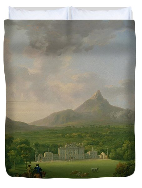 View Of Powerscourt - County Wicklow Duvet Cover by George the Elder Barret