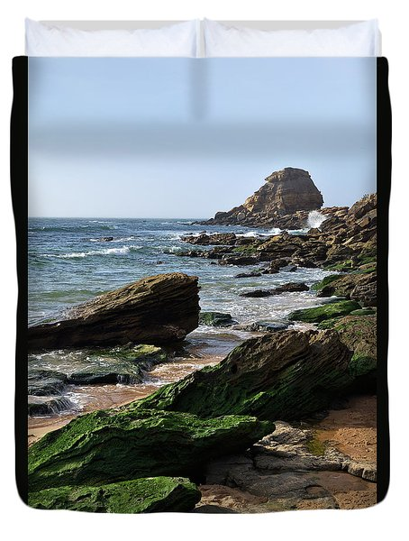 View Of Santa Rita Beach In Torres Vedras Duvet Cover