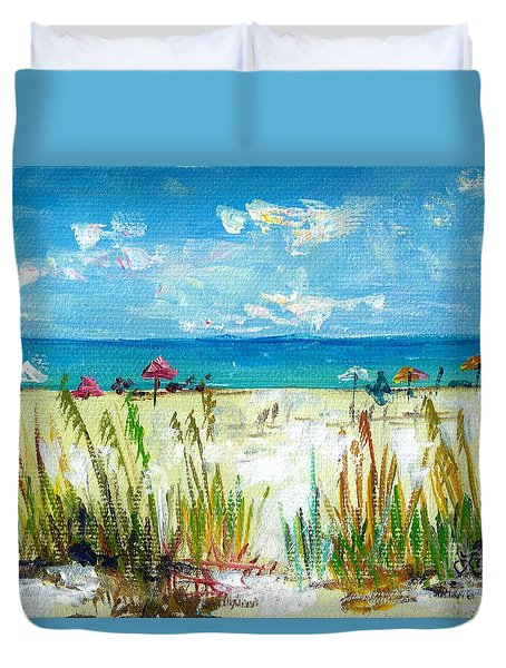 View Of Siesta Beach Mini Duvet Cover