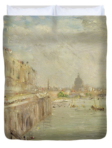 View Of Somerset House Terrace And St. Paul's Duvet Cover by John Constable