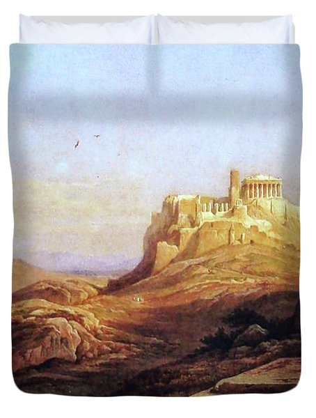 View Of The Acropolis From The Pynx Duvet Cover by Rudolph Muller