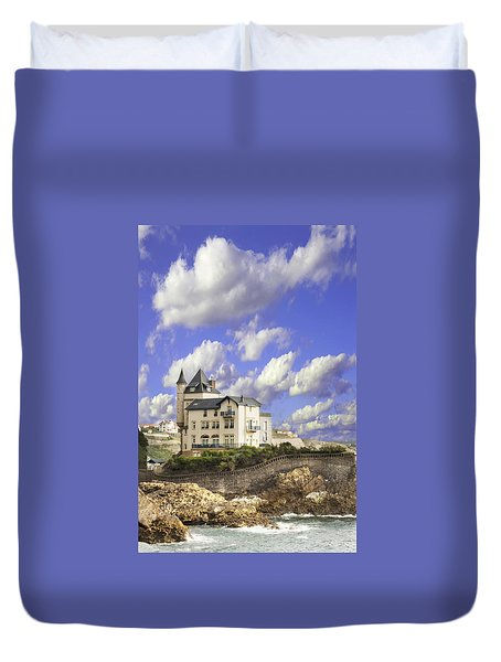 View Of The Beautiful Castle On The Bay Of Biscay Of The Atlantic Ocean Duvet Cover