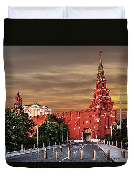 View Of The Borovitskaya Tower Of The Moscow Kremlin Duvet Cover