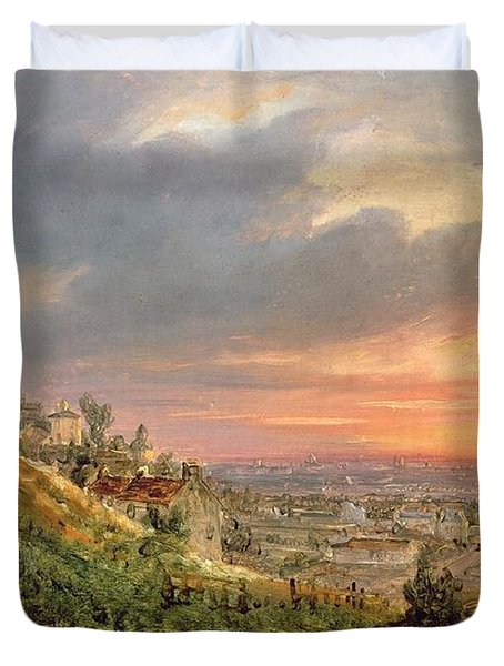 View Of The Butte Montmartre Duvet Cover by Louis Jacques Mande Daguerre