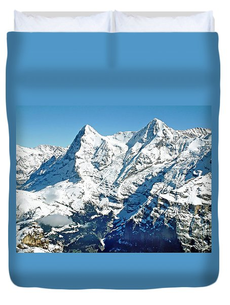 View Of The Eiger From The Piz Gloria Duvet Cover by Joseph Hendrix