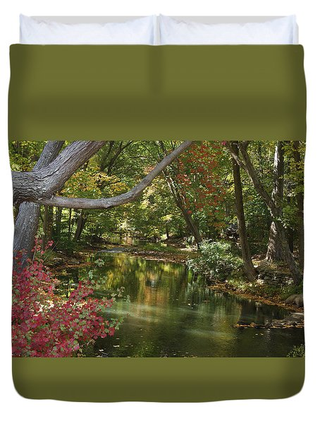 View Of The Mill River Duvet Cover
