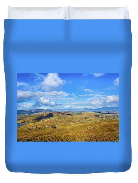 Duvet Cover featuring the photograph View Of The Mountains And Valleys In Ballycullane In Kerry Irela by Semmick Photo