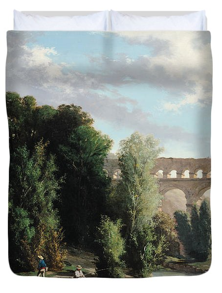 View Of The Pont Du Gard Duvet Cover by Henri Marie Poinsot