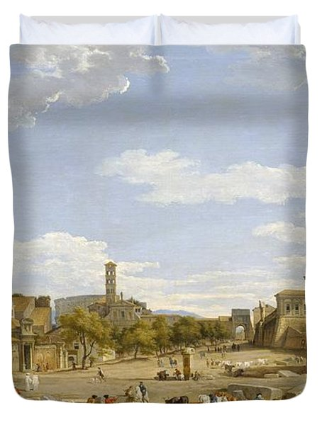 View Of The Roman Forum Duvet Cover by Giovanni Paolo Panini