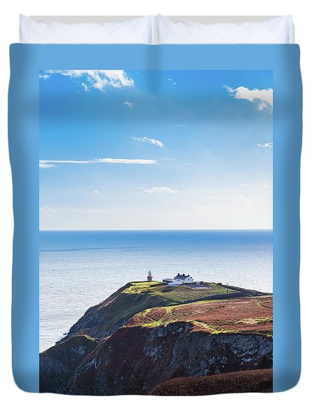 Duvet Cover featuring the photograph View Of The Trails On Howth Cliffs With The Lighthouse In Irelan by Semmick Photo