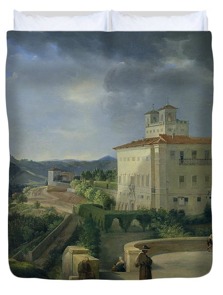 View Of The Villa Medici In Rome Duvet Cover by Nicolas Antoine Taunay