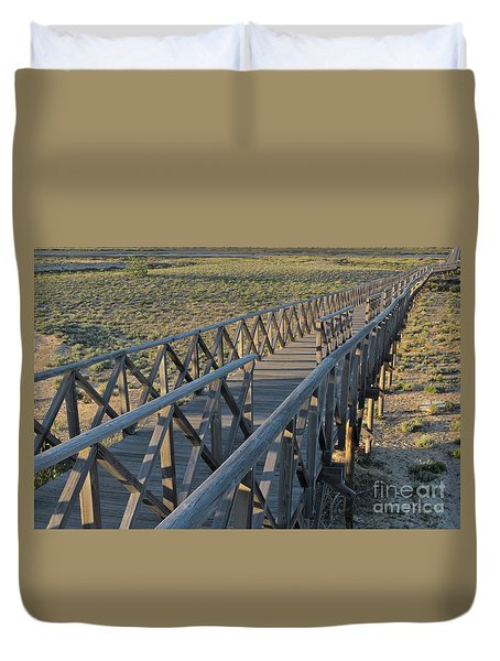 View Of The Wooden Bridge In Quinta Do Lago Duvet Cover