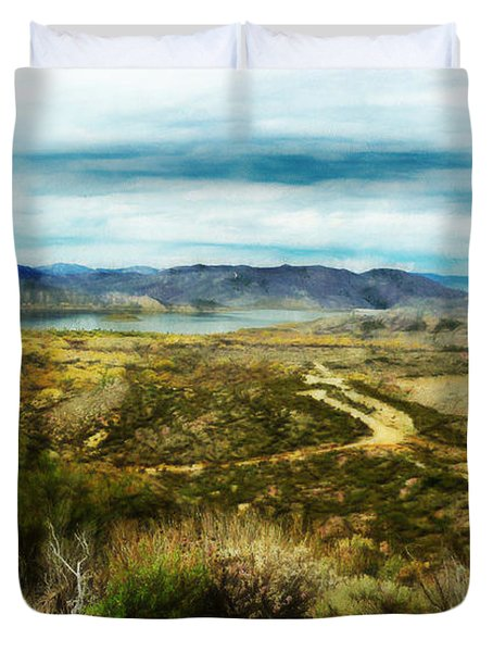 View Of Vail Lake On Horseback Duvet Cover