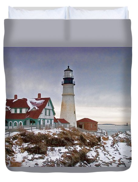 View Of Ram Island Lighthouse From Portland Head Lighthouse Duvet Cover
