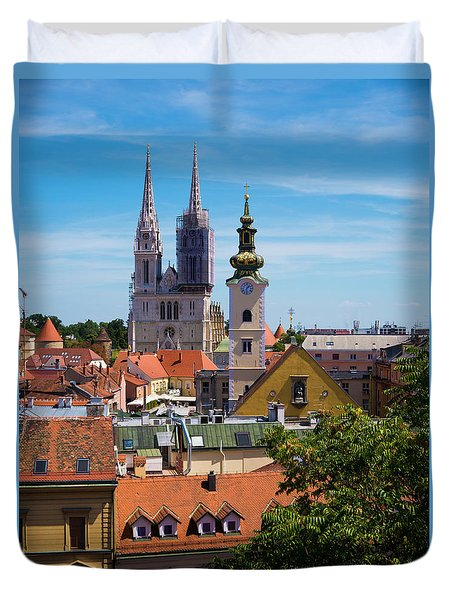 View Of Zagreb Duvet Cover by Rae Tucker