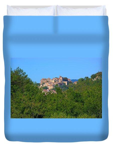 View On City Cordes Sur Ciel, Tarn, France Duvet Cover